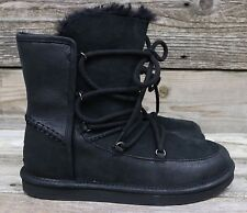 UGG Australia Womens Lodge Black Suede Sheepskin Black Lace-up Boots US 11 NEW!