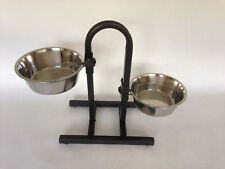 Raised Double Dog Bowl Holder with Bowls