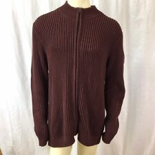 LL Bean Mens Burgundy Wine 100% Cotton Zip Cardigan Sweater Sz XLT XL Tall