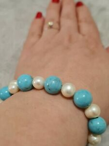 Freshwater Pearl and Turquoise Necklace And Bracelet Set