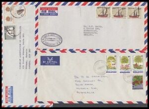 SINGAPORE 1976-2003 AIRMAIL COVERS (x5) TO US CANADA ETC (ID:675/D51851)