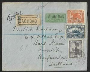 IRAQ TO SCOTLAND AIR MAIL COVER 1924