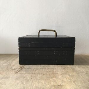 Vintage Style Urban Outfitters Wooden Storage Jewellery Box Case Brass Handle