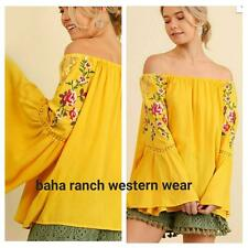 COWGIRL GYPSY COUNTRY EMBROIDERY BOHO OFF SHOULDER Top Tunic Western large