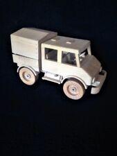 "Mercedes Benz Unimog wood model 404 w.crew cab pick-up, hand made, 11 1/8"" long"