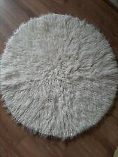 Vintage Retro 70s shaggy rug Retro Circle Round Cream Kitsch pile tufty (2 of 2)
