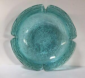 RETRO VINTAGE ANCHOR-HOCKING SORENO GLASS DISH ASHTRAY BLUE TURQUOISE. BEAUTIFUL