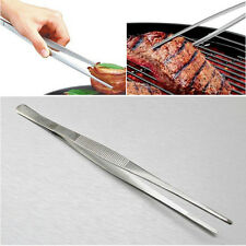 12'' 30cm Silver Stainless Steel Long Food Tongs Straight Tweezers Kitchen Tools