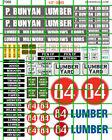 7066 DAVE'S DECALS HO P. BUNYAN 84 LUMBER YARD SIGNAGE SET WATER SLIDE DECALS