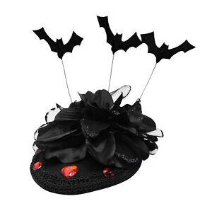 Womens Black Rose Bat Accents Fascinator Hair Clip Pillbox Costume Accessory