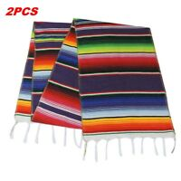 2x Mexican Serape Table Runner Tablecloth for Party Wedding Decor Fringe Cotton