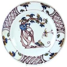 C1750 BRISTOL MANGANESE DELFT POLYCHROME PLATE CHINESE LADY HOLDING FAN a