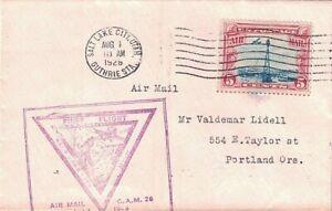 1928 Salt Lake City, Utah First Flight Cover w Cachet to  Great Falls, Montana ~