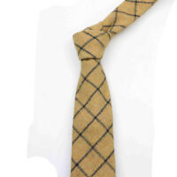 Country Mustard Yellow Check Mens Tweed / Wool Tie. Great Quality & Reviews. UK.