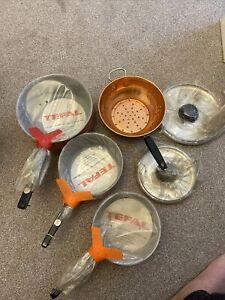 Vintage Aluminium Tefal Orange Saucepans NEW & Sealed 1970s + British Copper Siv