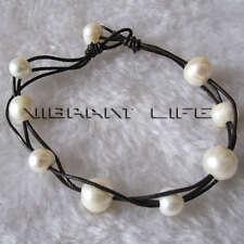 "8"" 7-11mm White Freshwater Pearl Bracelet Black Leather UE"