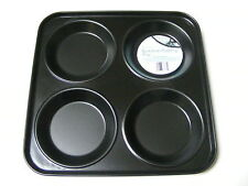 4 große Tasse Metall nicht klebend Brötchen Tablett / Yorkshire Pudding Ofen