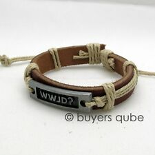 "Genuine WWJD Surfer Style Leather Bracelet 8"" Adjustable up to 12"""