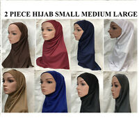 Amira 2 Piece New Muslim Islamic Women's Ladies Plain  Hijab Two Piece Bonnet