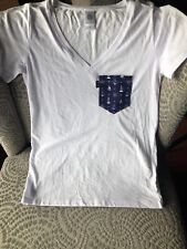 Poches & Fils - Nautical Pocket V-Neck T-Shirt/White (Womens Size M),M0Ni-M004