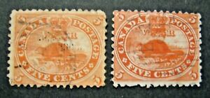 1859 Canada S#15 & 15a 5c beaver 2v vermillion & brick red stamps used set
