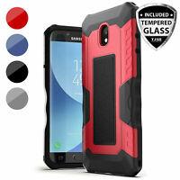For Samsung Galaxy J3 Orbit/Star/V2018 Case Armor Bump Ribs Cover+Tempered Glass