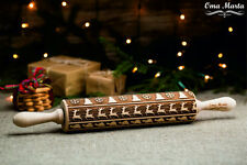 Christmas Wooden Rolling Pin Laser Engraved Cutter Embossed  Christmas pattern