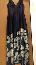 BNWT Linea Black Satin Floral Maxi Dress . S12 RRP£160. Stunning