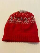 Vtg Wigwam Mills Knit Beanie Cap Ski Hat Red With Gray Skiers Sheboygan