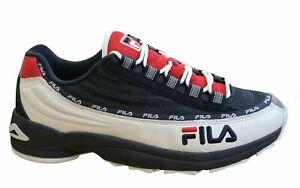 Fila DSTR97 CB Black Navy Leather Textile Lace Up Mens Trainers 1010713 01C