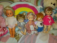 """Adorable Lot of 5 Small Vinyl Jointed Baby Dolls Collectable 1960s 70s 8""""-12"""""""
