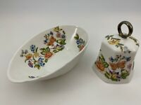 Aynsley Fine Bone China England COTTAGE GARDEN Egg Shaped Bowl & Bell Butterfly
