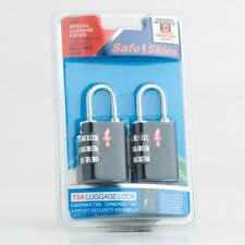 Light Weight 3 Dial TSA Approved Luggage Locks - Set of 2 - Midnight Black