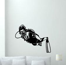 Diver Wall Decal Diving Sport Gym Vinyl Sticker Nautical Bathroom Decor 164hor