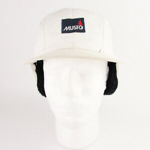 Musto Cap Fleece Lined Sailing Hat Size Small White Vintage