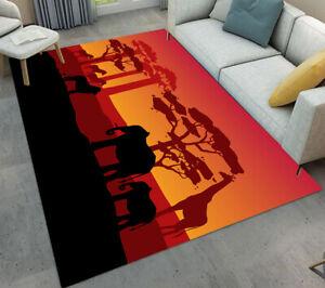 Jungle African Animals Shadow Area Rugs Bedroom Carpet Living Room Floor Mat Rug