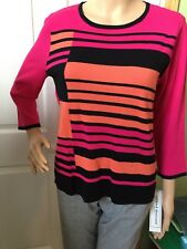 ALFRED DUNNER Woman's Black Pink 3/4 Sleeve Striped Sweater Petite PS 6P 8P
