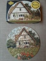 Vintage Tuco Round Mini Puzzle Original Triple Thick English Cottage