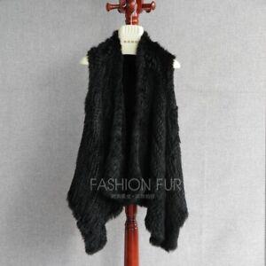 Handmade Knitted Rabbit Fur Vest Fur Gilet Slim Waistcoat Fashion  Black On Sale