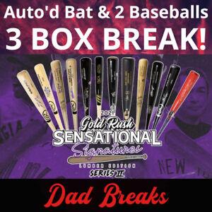 SEATTLE MARINERS 2021 Gold Rush Signed Bat + 2 TriStar Baseballs: 3 BOX BREAK
