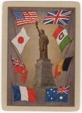 Playing Cards 1 Swap Card - Old Antique Wide WW1 LIBERTY Military Allied Flags
