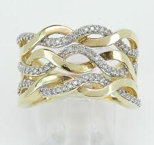 14K Yellow Gold Wide Diamond Anniversary Ring Multi Row Wedding Band Size 8.5