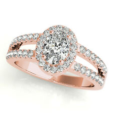 Oval Shape GIA Certified Diamond Halo Engagement Ring 2.20 CTW 18k Rose Gold