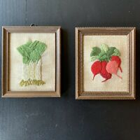 Vintage 2 Crewel Embroidery Small Radish Celery Vegetables Brown Frames 5 X 4