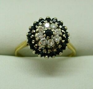 Beautiful 18 Carat Gold Sapphire And Diamond Cluster Ring Size R