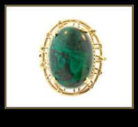 14K Yellow Gold Turquoise Fashion Dinner Ring
