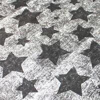 Grau Vintage Sterne Stoff Kinderstoff Baumwollstoff Meterware Nähen Kinder BA015