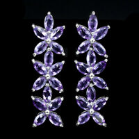 Unheated Marquise Amethyst 6x3mm Natural 925 Sterling Silver Earrings