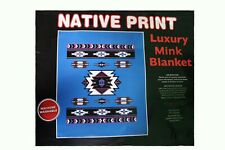 NATIVE PRINT BLUE LUXURY MINK BLANKET..New