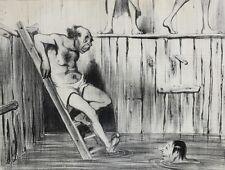 Honore Daumier (France 1808-1879) Lithograph Les Baigneurs No 9